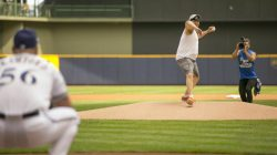 Fritzy throws out first pitch at Brewers game.
