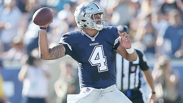 LOS ANGELES, CALIFORNIA - AUGUST 13:  Quarterback Dak Prescott #4 of the Dallas Cowboys throws a pass against the Los Angeles Rams at the Los Angeles Coliseum during preseason on August 13, 2016 in Los Angeles, California.  (Photo by Stephen Dunn/Getty Images)